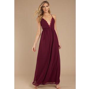 New Tobi Wine Burgundy Lace Maxi Plunge Dress